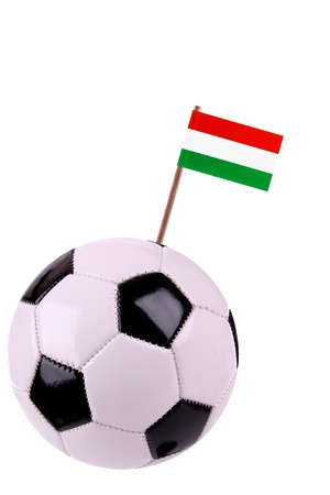 Soccerball or football decorated with a small national flag on a toothstick Stock Photo - 13497980