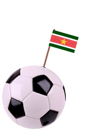 Soccerball or football decorated with a small national flag on a toothstick Stock Photo - 13498495
