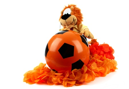 Various attributes as fan fun materials to be used at the Dutch soccer games  Stock Photo