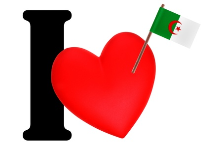 Small flag on a red heart and the word I to express love for the national flag of Algeria Stock Photo - 13499170
