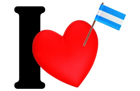 Small flag on a red heart and the word I to express love for the national flag of Argentina photo