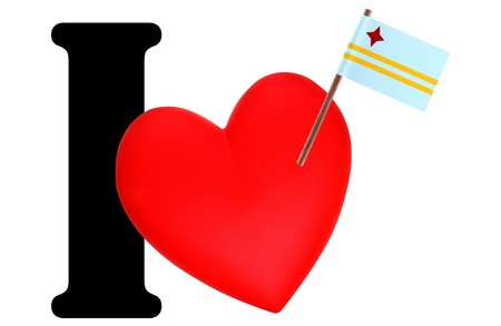 Small flag on a red heart and the word I to express love for the national flag of Aruba photo