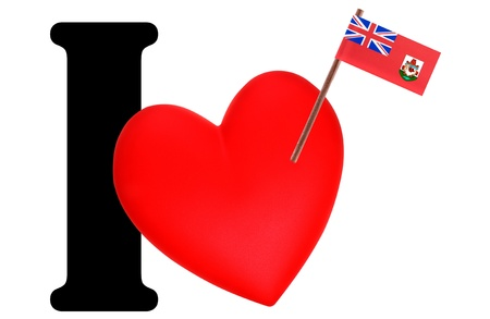 Small flag on a red heart and the word I to express love for the national flag of Bermuda photo