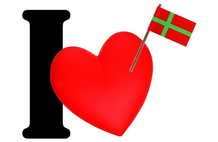 Small flag on a red heart and the word I to express love for the national flag of Bornholm Stock Photo - 13499435