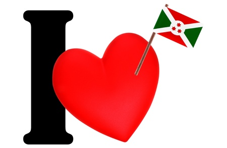 Small flag on a red heart and the word I to express love for the national flag of Burundi photo