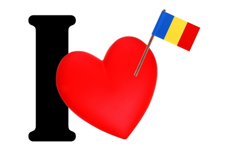 Small flag on a red heart and the word I to express love for the national flag of Chad Stock Photo