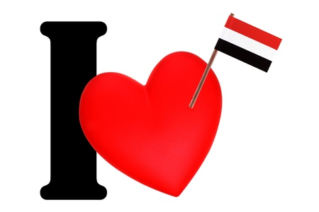 Small flag on a red heart and the word I to express love for the national flag of Egypt Stock Photo - 13499430