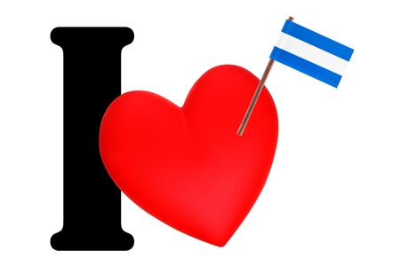 el salvador flag: Small flag on a red heart and the word I to express love for the national flag of El Salvador