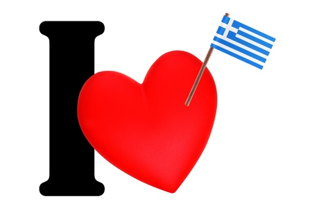 Small flag on a red heart and the word I to express love for the national flag of Greece Stock Photo - 13499632