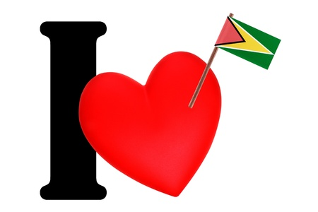 Small flag on a red heart and the word I to express love for the national flag of Guyana photo