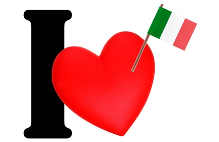 Small flag on a red heart and the word I to express love for the national flag of Italy