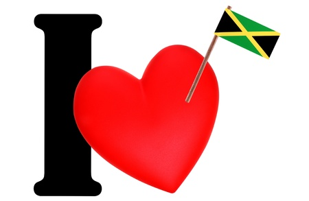 Small flag on a red heart and the word I to express love for the national flag of Jamaica