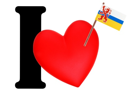 limburg: Small flag on a red heart and the word I to express love for the national flag of Limburg Stock Photo