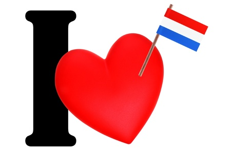 Small flag on a red heart and the word I to express love for the national flag of Netherlands photo