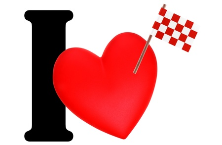 noord brabant: Small flag on a red heart and the word I to express love for the national flag of Noord Brabant