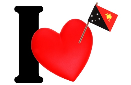 Small flag on a red heart and the word I to express love for the national flag of Papua New Guinea Stock Photo - 13499630