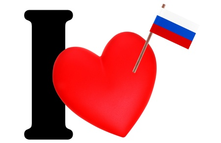 russian federation: Small flag on a red heart and the word I to express love for the national flag of Russian Federation