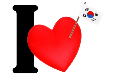 Small flag on a red heart and the word I to express love for the national flag of South Korea photo