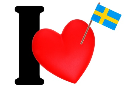 Small flag on a red heart and the word I to express love for the national flag of Sweden  photo