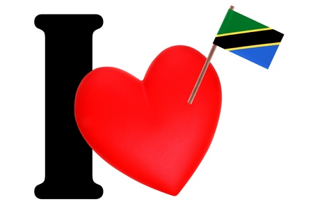 Small flag on a red heart and the word I to express love for the national flag of Tanzania photo