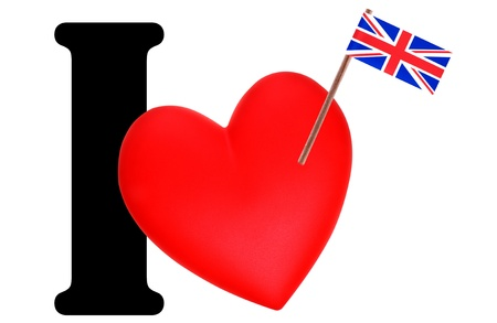 Small flag on a red heart and the word I to express love for the national flag of United Kingdom, England Stock Photo - 13499681