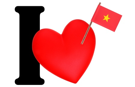Small flag on a red heart and the word I to express love for the national flag of Vietnam Stock Photo - 13499689