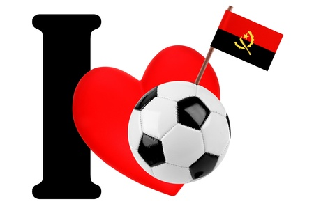 Small flag on a red heart and the word I to express love for the national flag of Angola Stock Photo - 13869217