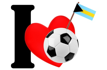 Small flag on a red heart and the word I to express love for the national flag of Bahamas photo
