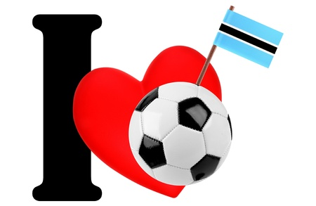 Small flag on a red heart and the word I to express love for the national flag of Botswana photo