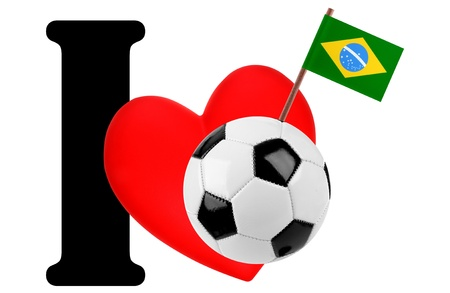 Small flag on a red heart and the word I to express love for the national flag of Brazil photo