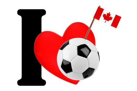 Small flag on a red heart and the word I to express love for the national flag of Canada Stock Photo - 13869247