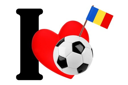 Small flag on a red heart and the word I to express love for the national flag of Chad photo