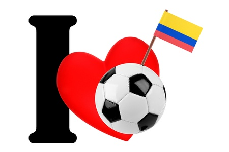 Small flag on a red heart and the word I to express love for the national flag of Colombia