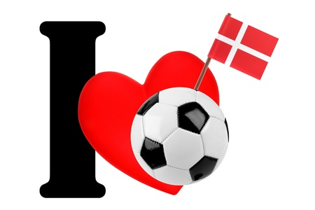 Small flag on a red heart and the word I to express love for the national flag of Denmark photo