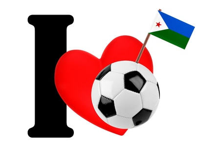 Small flag on a red heart and the word I to express love for the national flag of Djibouti photo
