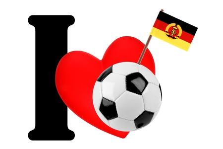 east of germany: Small flag on a red heart and the word I to express love for the national flag of East Germany