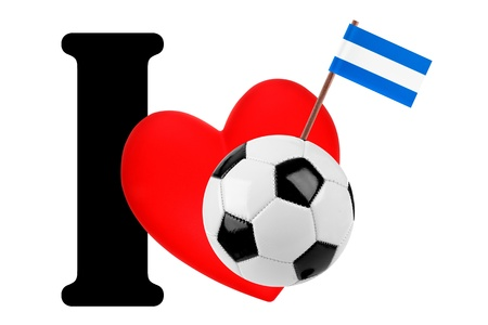 Small flag on a red heart and the word I to express love for the national flag of El Salvador photo