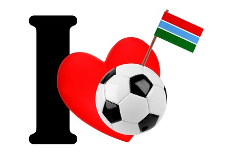 Small flag on a red heart and the word I to express love for the national flag of Gambia photo