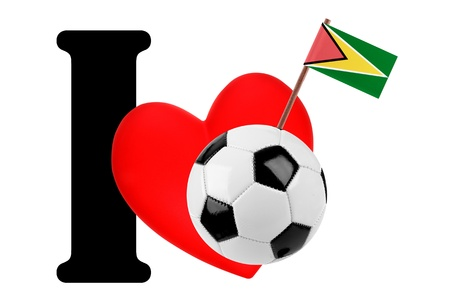 Small flag on a red heart and the word I to express love for the national flag of Guyana Stock Photo - 13869408