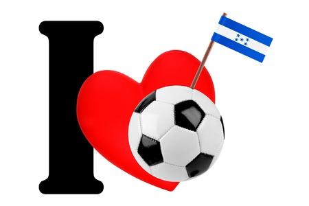 Small flag on a red heart and the word I to express love for the national flag of Honduras photo