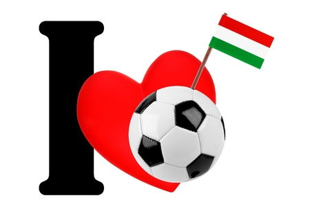 Small flag on a red heart and the word I to express love for the national flag of Hungary photo