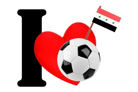 Small flag on a red heart and the word I to express love for the national flag of Iraq photo