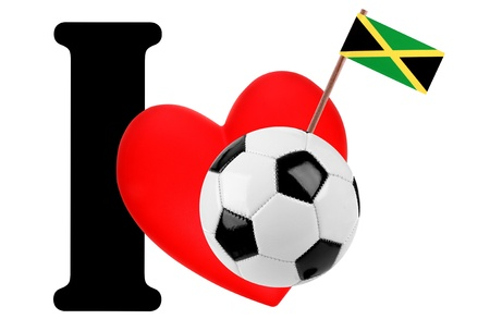 Small flag on a red heart and the word I to express love for the national flag of Jamaica photo