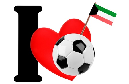 Small flag on a red heart and the word I to express love for the national flag of Kuwait photo
