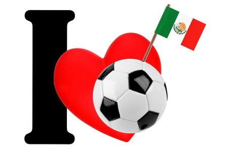 Small flag on a red heart and the word I to express love for the national flag of Mexico Stock Photo - 13872154