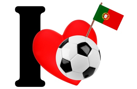 Small flag on a red heart and the word I to express love for the national flag of Portugal photo