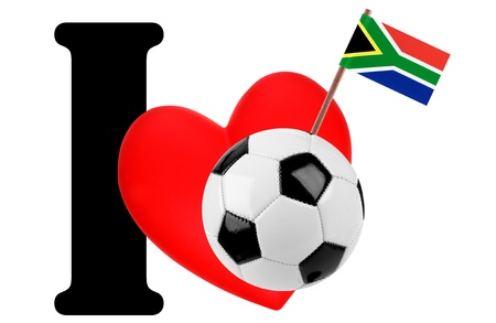 Small flag on a red heart and the word I to express love for the national flag of South Africa photo