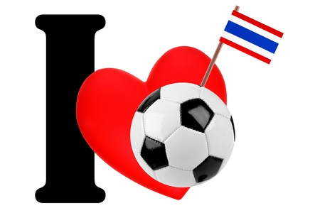 Small flag on a red heart and the word I to express love for the national flag of Thailand photo