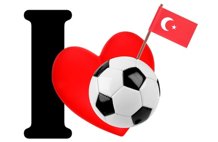 Small flag on a red heart and the word I to express love for the national flag of Turkey photo