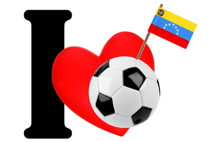 Small flag on a red heart and the word I to express love for the national flag of Venezuela photo